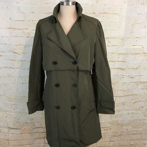 Zara L double breasted green trench coat belted